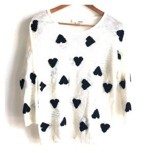 LULU's SANS SOUCI 🖤 Heart Black/Cream 3/4 Sweater
